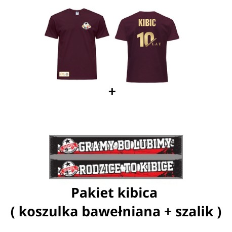 Pakiet Kibica 10-lecie: koszulka + szalik (dorośli)