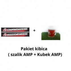 Pakiet kibica 10-lecie: szalik AMP GOOL (Rodzice to kibice lub Gramy bo lubimy) + kubek